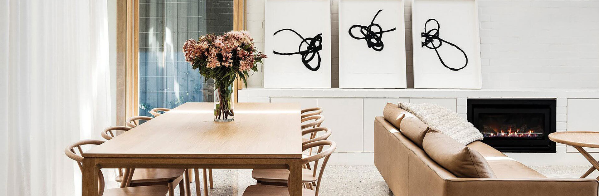 Inbuilt wood heater in modern living room