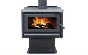 Masport RIVERSTONE steel freestanding wood fire with integrated ashpan