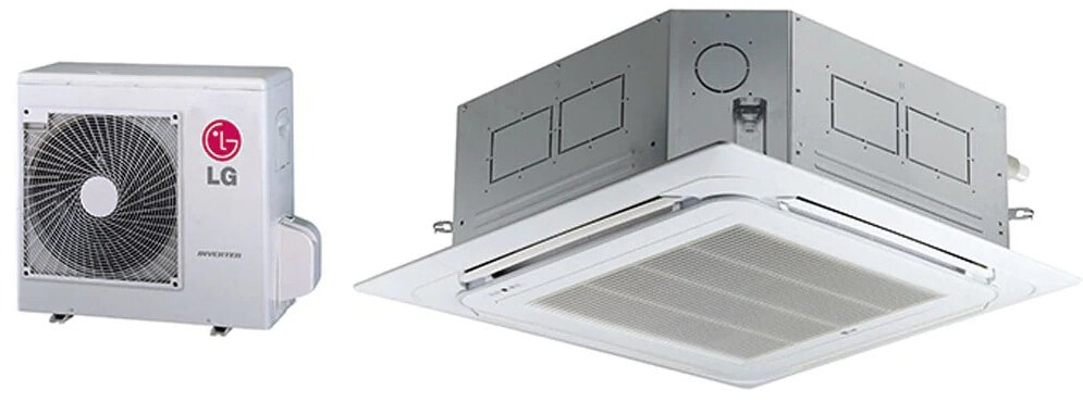 LG air conditioning unit with white background