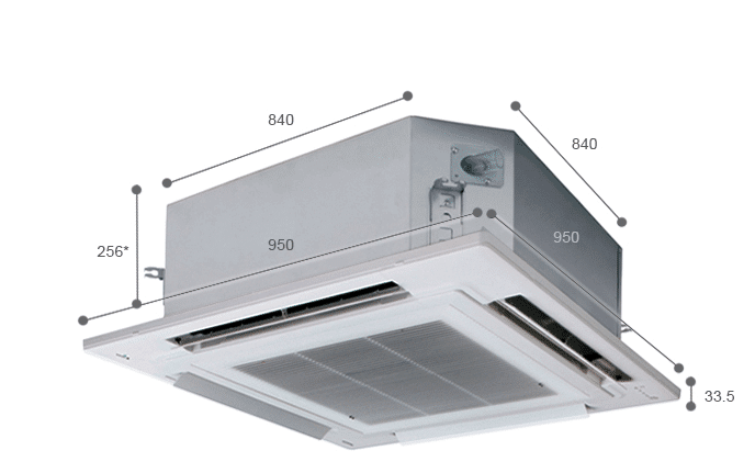 Air conditioning unit with dimensions